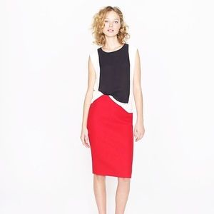 J Crew No 2 Pencil Skirt Double-Serge Wool Lined